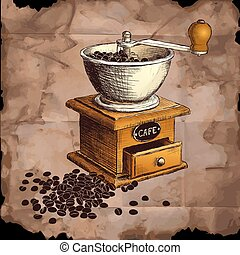 Coffee mill. Hand drawn illustration. Color can be changed...