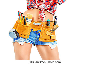 builder tool belt - Close-up portrait of a woman...