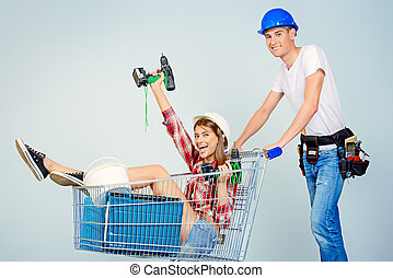 building shopping - Happy young couple went shopping for the...