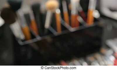Makeup tools in the table - Brush set for make-up on table....