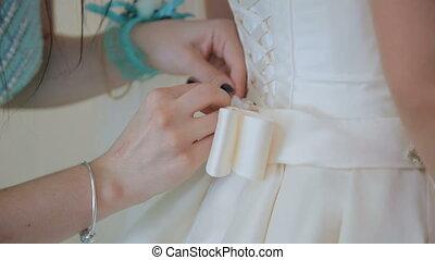The bride dress, bridesmaid dress. Full HD