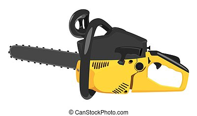 Chainsaw - Yellow chainsaw on a white background