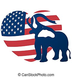 Republican elephant in the background of the heart in the colors of the American flag. Republican victory in US elections. illustration