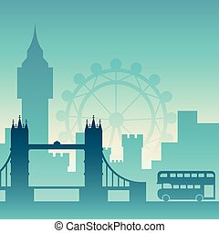 Famous city scape in color. - Flat well known silhouettes....