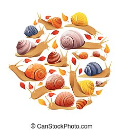 Snails With Leaves Round Composition - Round composition...