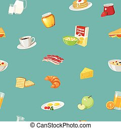Breakfast Food Pattern - Pattern with drawn breakfast food...
