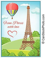 Paris Post Card - Colored paris post card with Eiffel Tower...
