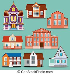Set of different houses. It will help to create a variety of...