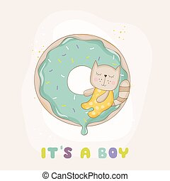 Baby Shower or Arrival Card - Baby Cat - in vector