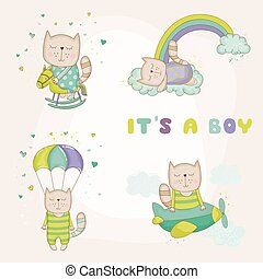 Baby Cat Set - Baby Shower or Arrival Card - in vector