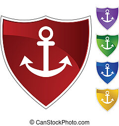 Anchor Icon - Boat anchor icon web button isolated on a...