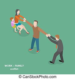 Work-family conflict vector flat isometric concept.