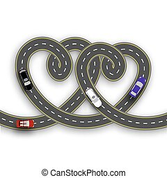 Cards for Valentine Day. Trips by car. Two hearts in the form of roads on a white background isolated. 3D. illustration