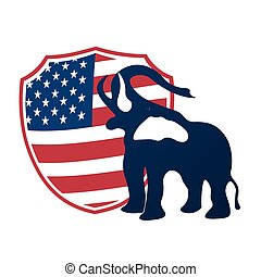 Republican elephant in the background of the shield in the colors of the American flag. Republican victory in US elections. illustration