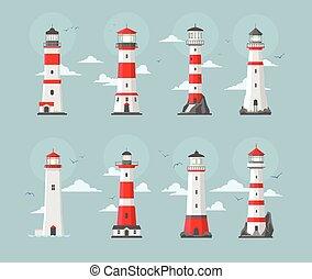 Set of ligthhouses - Set of vector ligthhouse illustration...