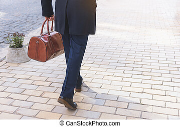 Businessman going to work with suitcase