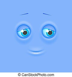 Cute lonely shaded emoji on flat square background