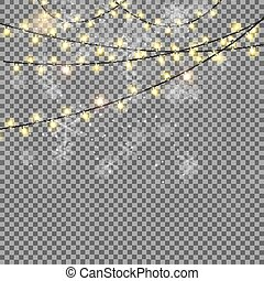 Shining Garland with Light Bulb on Transparent Background....