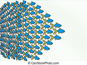 School of Fish - An illustration of a swimming school of...