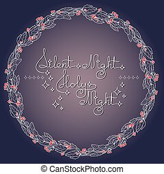 Handwritten text Silent Holy Night and holly wreathon blue