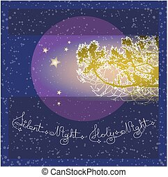 Handwritten text Silent Holy Night and branch on blue