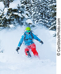 Freeze motion of freerider in deep powder snow, skiing in...