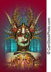Cyborg Fairytale, 3d CG - 3D computer graphics of a cyborg...