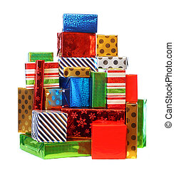 Stack of colorful presents