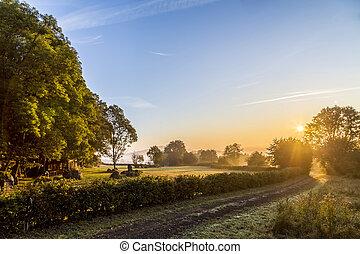 sunrise in Eifel landscape near Daun