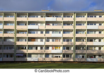 facade with balconys of a social housing complex in Munich,...