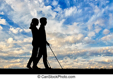 Disabled blind with cane day - Blind people with...