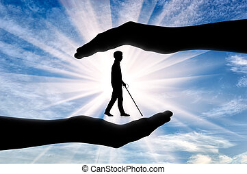 Disabled blind with cane in hands day - Association of blind...