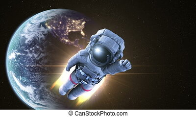 Escape from Earth, Astronaut Flies into Space. conceptual 3d...