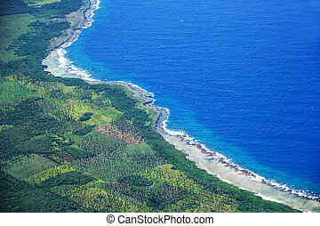 Aerial view of Tongatapu island coastline in Tonga....