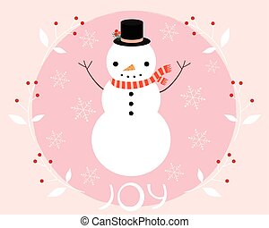 Christmas and winter snowman greeting card design