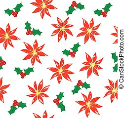 poinsettia - vector seamless poinsettia background
