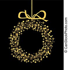 snow wreath - vector gold snowflake wreath