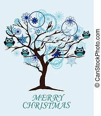 winter tree - vector snow tree with owls