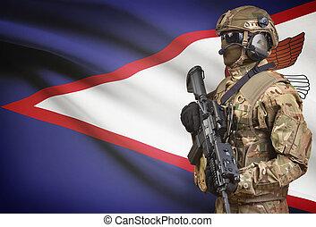 casco, Samoa, presa a terra, serie, -, fucile, macchina,...