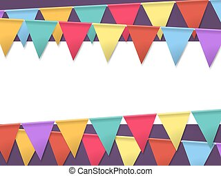 Bunting Flags for Holidays. Template for Poster with Empty...