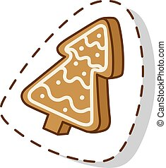 Christmas cookie cake isolated vector icon - Sweet Christmas...