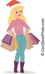 Christmas shopping girl vector - Collection going shopping...