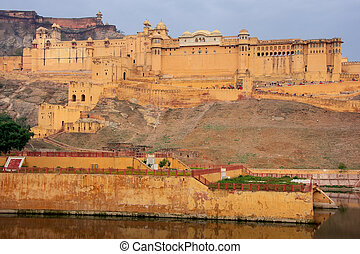 Amber Fort near Jaipur, Rajasthan, India. Amber Fort is the...