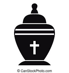 Urn icon, simple style - Urn icon. Simple illustration of...