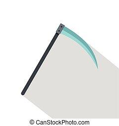 Scythe icon, flat style - Scythe icon. Flat illustration of...