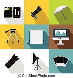 Photographic icons set, flat style - Photographic icons set....