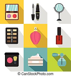 Cosmetic products icons set, flat style