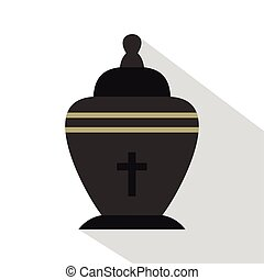 Urn icon, flat style - Urn icon. Flat illustration of urn...