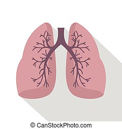 Lungs icon, flat style - Lungs icon. Flat illustration of...
