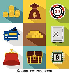 Bank icons set, flat style - Bank icons set. Flat...